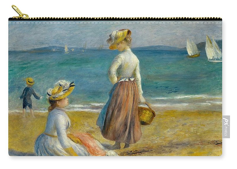 1890 Carry-all Pouch featuring the painting Figures On The Beach by Pierre-Auguste Renoir