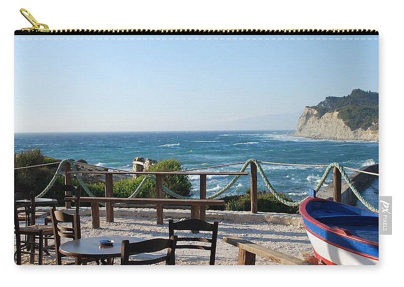 Seascape Carry-all Pouch featuring the photograph Fiki Cafe by George Katechis