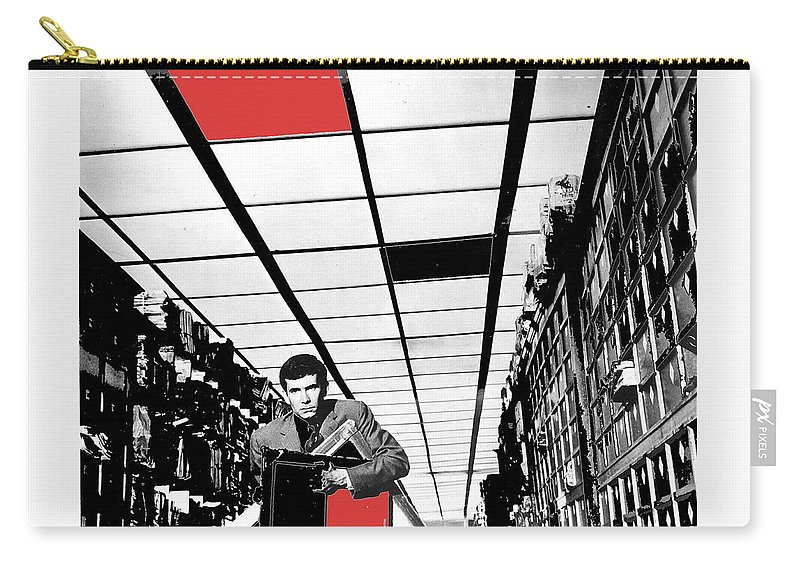 Film Homage Anthony Perkins Orson Welles The Trial 1962 Color Added Carry-all Pouch featuring the photograph Film Homage Anthony Perkins Orson Welles The Trial 1962 by David Lee Guss