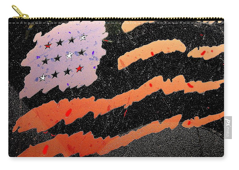Film Homage The Manchurian Candidate 1962 American Flag Car Window Sacaton Arizona 2005 Carry-all Pouch featuring the photograph Film Homage The Manchurian Candidate 1962 Flag Car Window Sacaton Arizona 2005 by David Lee Guss