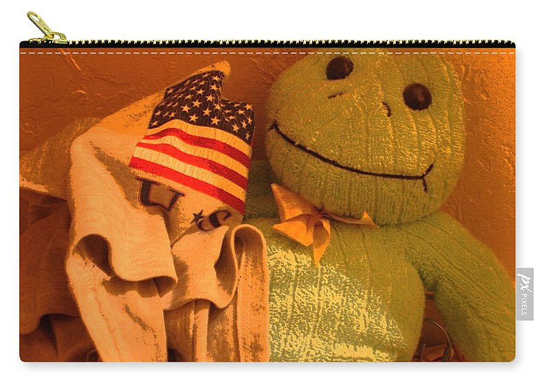 Film Homage The Muppet Movie 1979 Number 2 Froggie Smudge Stick Casa Grande Arizona 2004 American Flag Carry-all Pouch featuring the photograph Film Homage The Muppet Movie 1979 Number 2 Froggie Smudge Stick Casa Grande Az 2004-2009 by David Lee Guss