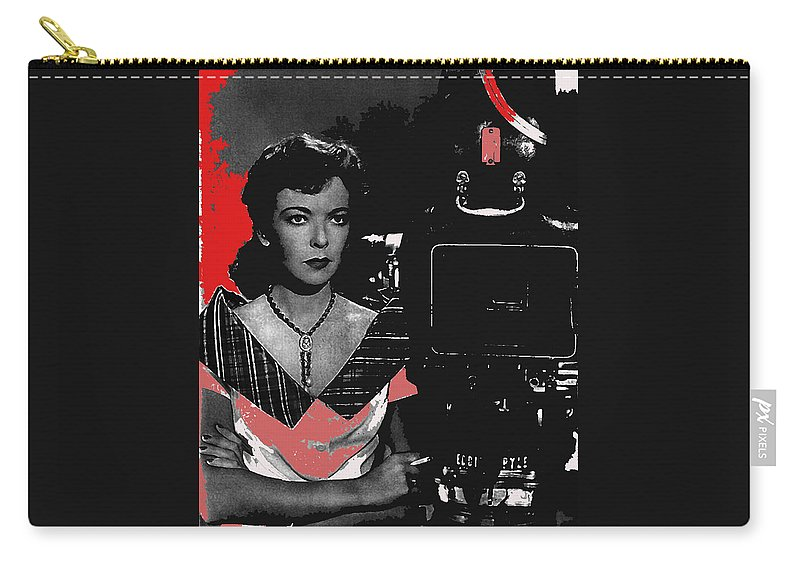 Film Noir Director Ida Lupino Color Added 2012 Carry-all Pouch featuring the photograph Film Noir Director Ida Lupino Color Added 2012 by David Lee Guss