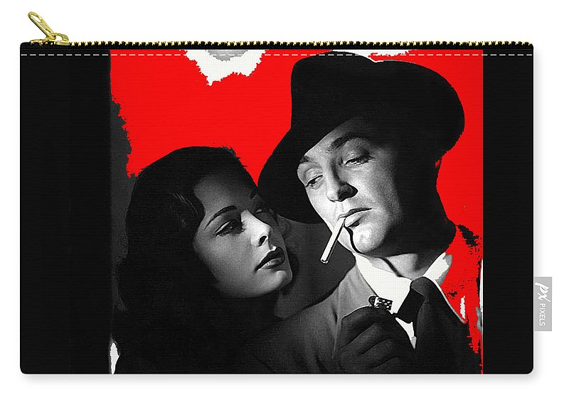 Film Noir Jane Greer Robert Mitchum Out Of The Past 1947 Rko Color Added 2012 Carry-all Pouch featuring the photograph Film Noir Jane Greer Robert Mitchum Out Of The Past 1947 Rko Color Added 2012 by David Lee Guss