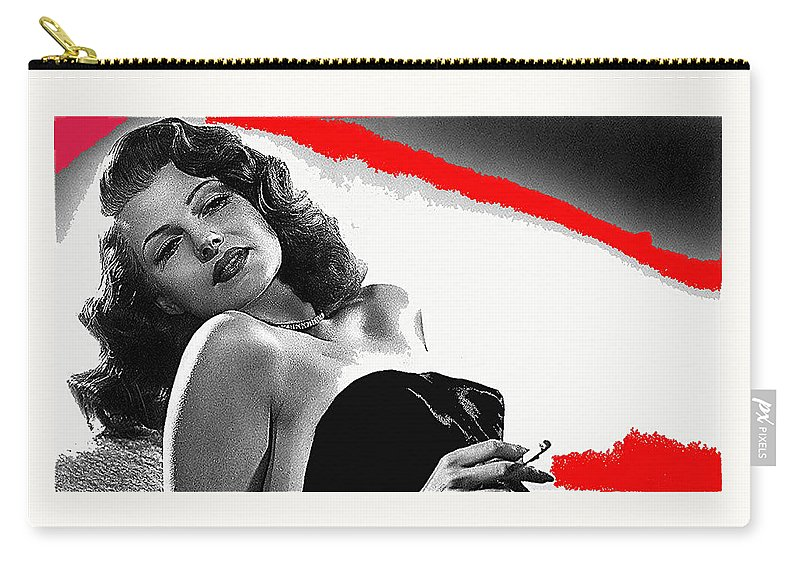Film Noir Jean Louis Rita Hayworth Gilda 1946 Color Added 2012 Carry-all Pouch featuring the photograph Film Noir Jean Louis Rita Hayworth Gilda 1946 Color Added 2012 by David Lee Guss