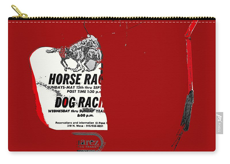 Film Noir Jim Thompson The Grifters 1990 1 Horse Dog Tracks Sign Juarez Chihuahua 1977 Carry-all Pouch featuring the photograph Film Noir Jim Thompson The Grifters 1990 1 Horse Dog Tracks Sign Juarez 1977 by David Lee Guss