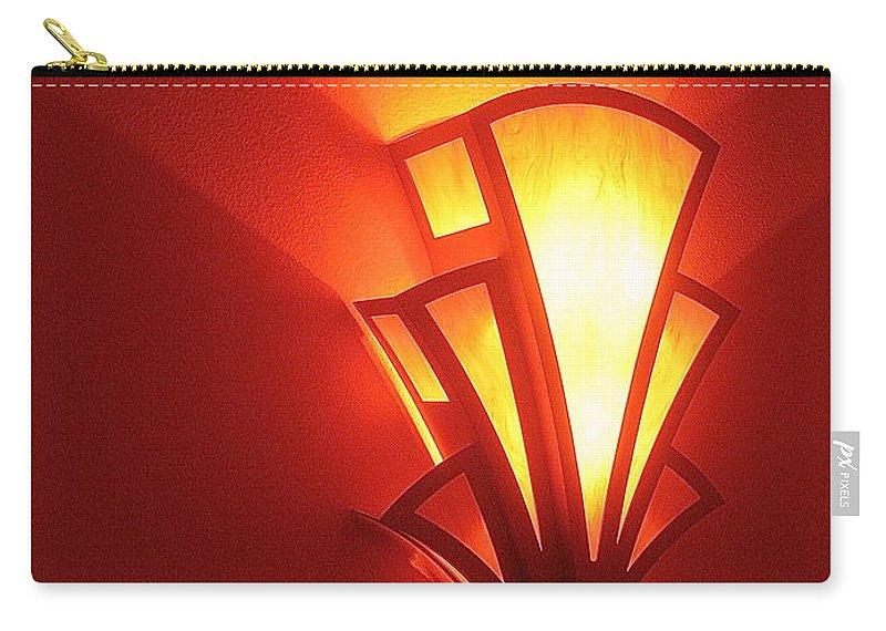 Film Noir Raymond Burr Robert Aldrich Red Light 1949 Art Deco Light Fox Tucson Theater 2006 Carry-all Pouch featuring the photograph Film Noir Raymond Burr Robert Aldrich Red Light 1949 Art Deco Light Fox Tucson Theater 2006 by David Lee Guss