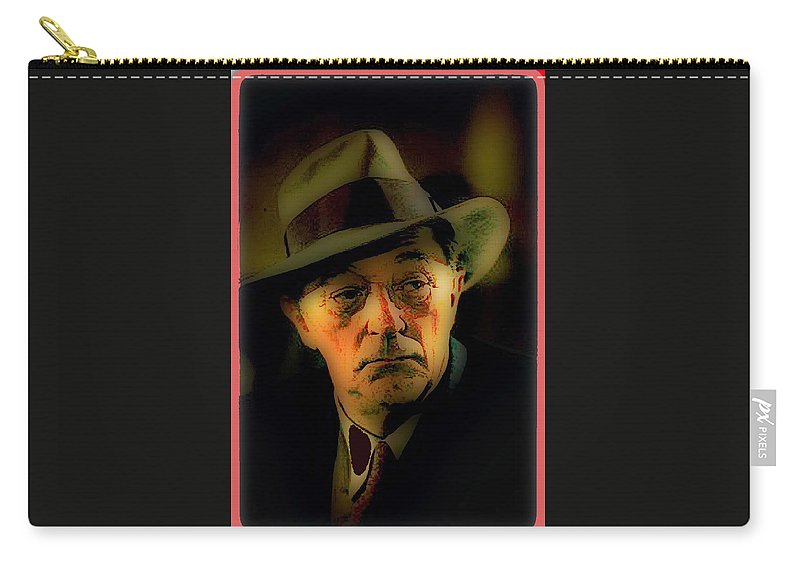 Film Noir Robert Mitchum Philip Marlowe Farewell My Lovely 1975 Publicity Photo Color Added 2013 Carry-all Pouch featuring the photograph Film Noir Robert Mitchum Philip Marlowe Farewell My Lovely 1975 Publicity Photo Color Added 2013 by David Lee Guss
