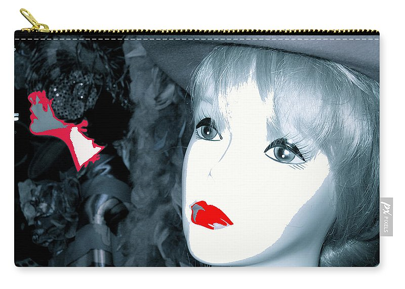 Film Noir Stanley Kubrick Frank Silvera Killer's Kiss 1955 Mannequin Casa Grande Arizona 2006 Desaturated Color Altered 2008 Carry-all Pouch featuring the photograph Film Noir Stanley Kubrick Frank Silvera Killer's Kiss 1955 Mannequin Casa Grande Arizona 2006 by David Lee Guss