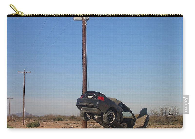Film Noir Walter Hill Bruce Dern Ryan O'neal The Driver 1978 Car Telephone Wire Arizona City Arizona 2005 Carry-all Pouch featuring the photograph Film Noir Walter Hill Bruce Dern Ryan O'neal The Driver 1978 Car Telephone Wire Arizona City Az by David Lee Guss