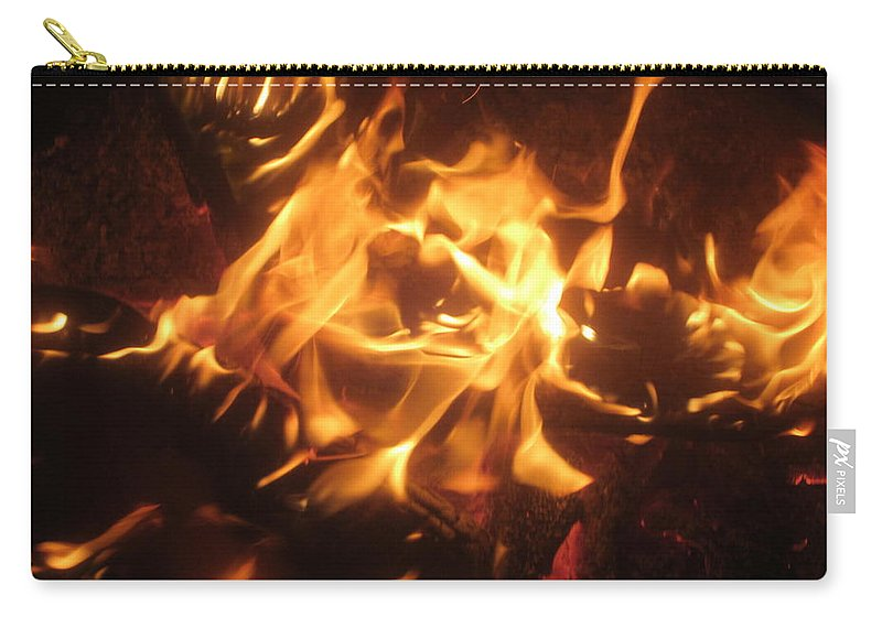 Fire Carry-all Pouch featuring the photograph Find The Face by Jo Jurkiewicz
