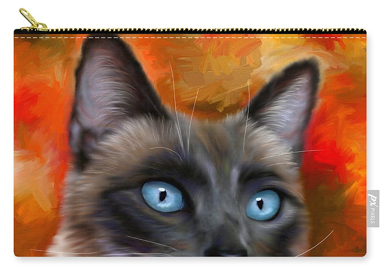 Siamese Carry-all Pouch featuring the painting Fire And Ice - Siamese Cat Painting by Michelle Wrighton