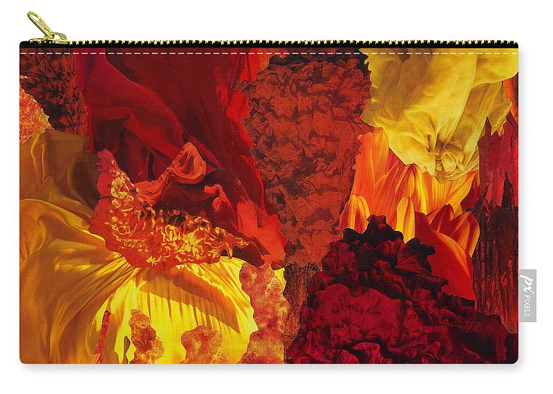 Fire Carry-all Pouch featuring the mixed media Fire by Denise Mazzocco