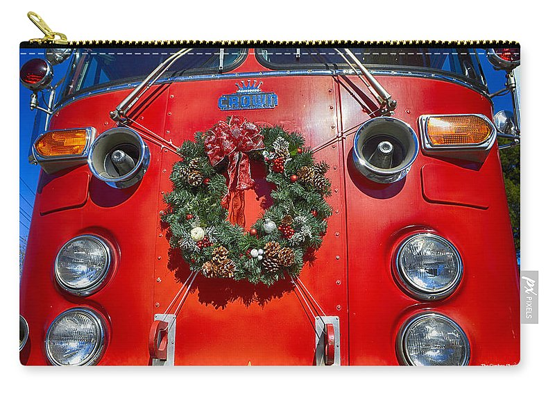 Christmas Carry-all Pouch featuring the photograph Fire Department Christmas 1 by Tommy Anderson