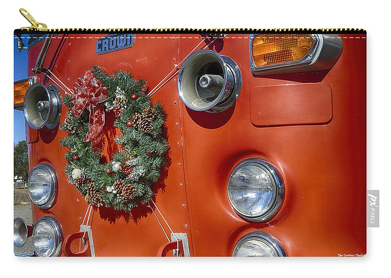 Christmas Carry-all Pouch featuring the photograph Fire Department Christmas 2 by Tommy Anderson