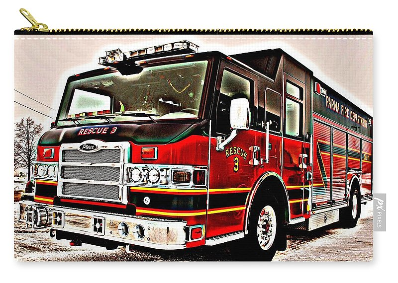 Fire Carry-all Pouch featuring the photograph Fire Engine Red by Frozen in Time Fine Art Photography