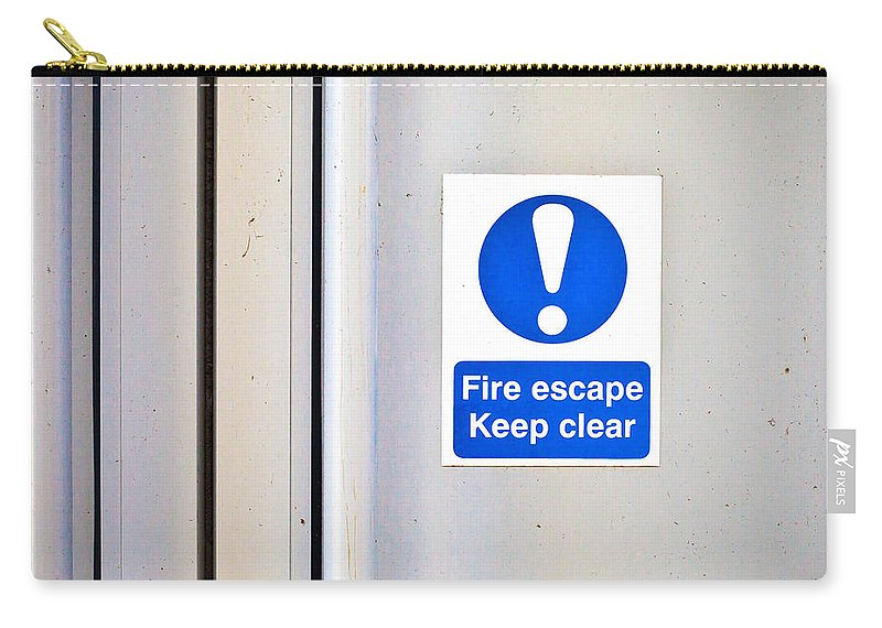 Blue Carry-all Pouch featuring the photograph Fire Exit by Tom Gowanlock