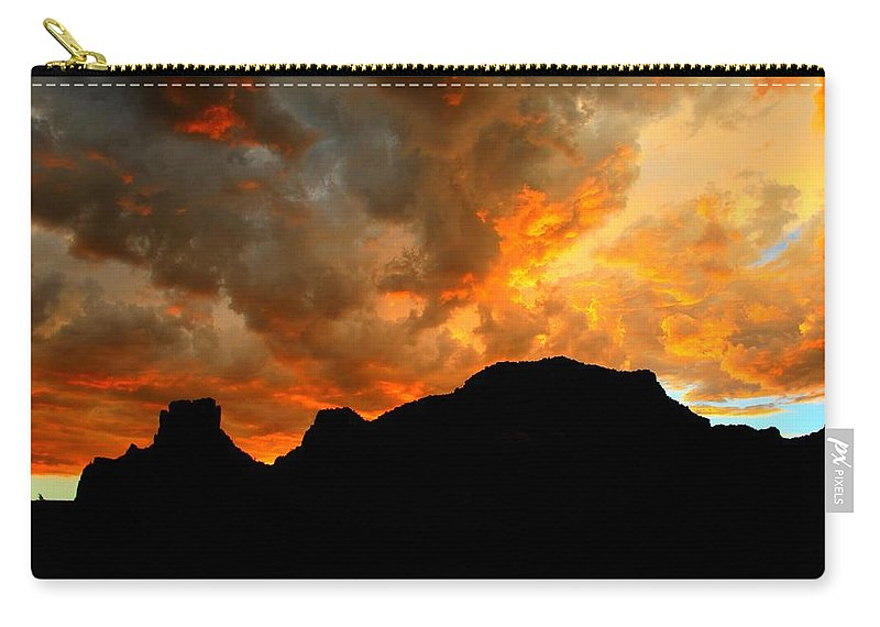 Arizona Carry-all Pouch featuring the photograph Fire Mountain by Miles Stites