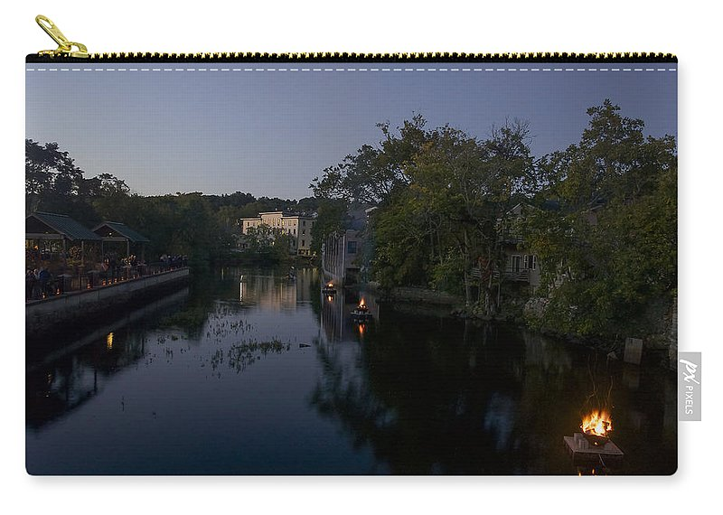 Ipswich Illuminated Carry-all Pouch featuring the photograph Fire On The Water by David Stone