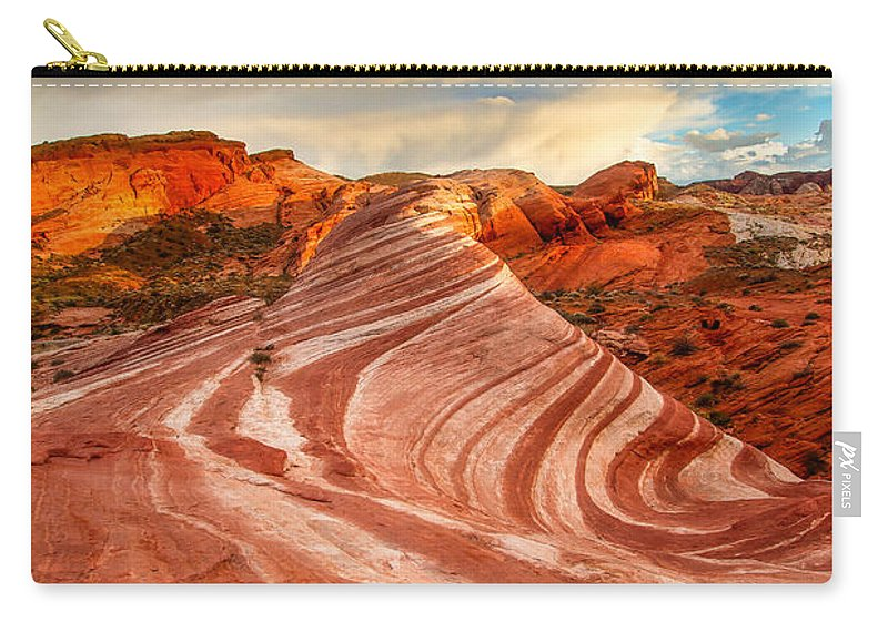 Nevada Carry-all Pouch featuring the photograph Fire Wave At Sunset by Patricia Davidson