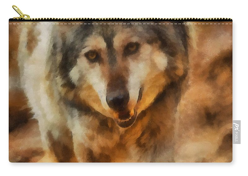 Wolf Carry-all Pouch featuring the digital art Fire Wolf by Ernie Echols