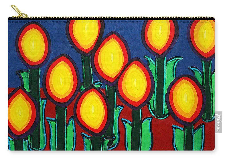 Fire Carry-all Pouch featuring the painting Fireflowers by Matthew Brzostoski