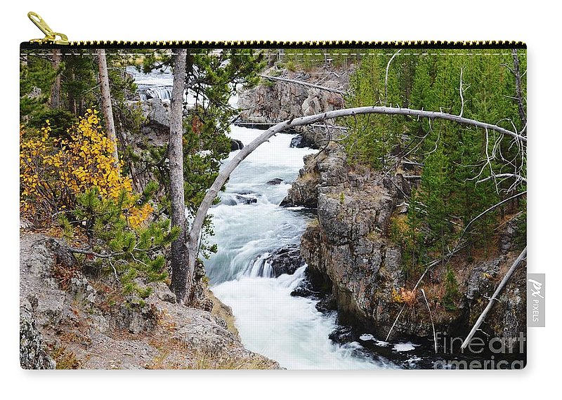 Waterfalls Carry-all Pouch featuring the photograph Firehole Falls by Deanna Cagle