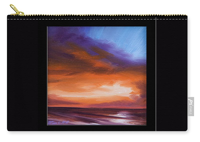 Sunrise Carry-all Pouch featuring the painting Firesun Sky by James Christopher Hill