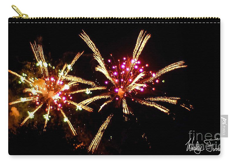 Fireworks Carry-all Pouch featuring the photograph Fireworks 2014 12 by Wesley Farnsworth