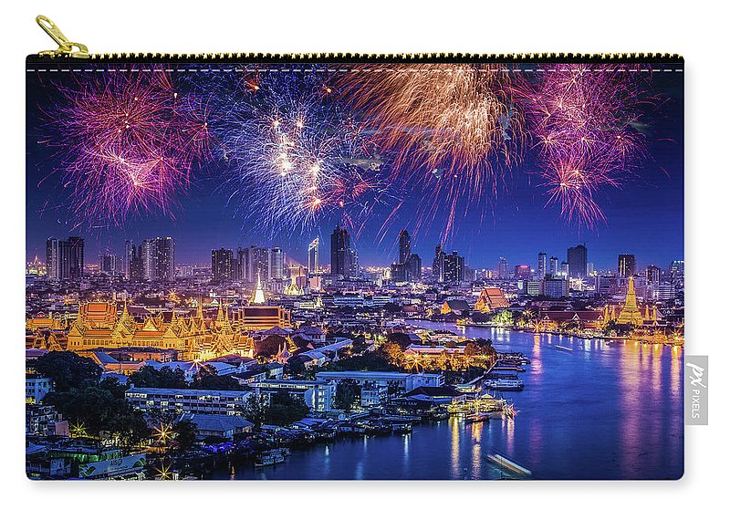 Mother's Day Carry-all Pouch featuring the photograph Fireworks Above Bangkok City by Natapong Supalertsophon