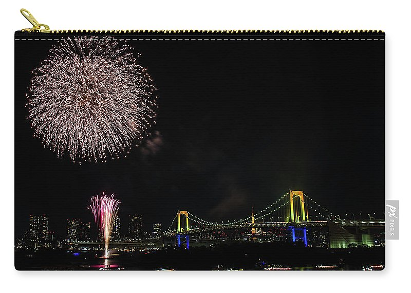 Firework Display Carry-all Pouch featuring the photograph Fireworks At Rainbow Bridge by ©alan Nee