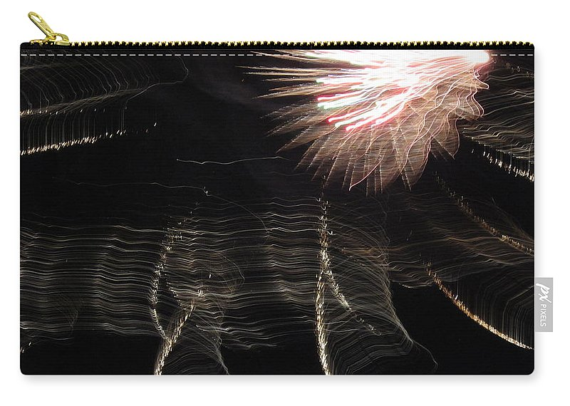 Ireworks Carry-all Pouch featuring the photograph Fireworks Light Trails 11 by Mary Bedy