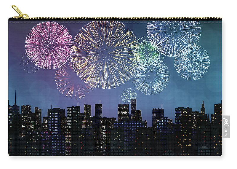 Event Carry-all Pouch featuring the digital art Fireworks Over The City by Magnilion