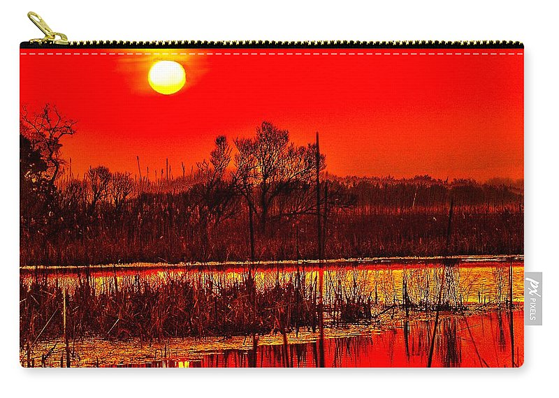 Sunrise Carry-all Pouch featuring the photograph Firey Dawn Over The Marsh by Nick Zelinsky