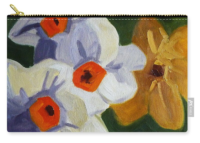 Oregon Carry-all Pouch featuring the painting First Blooms by Nancy Merkle