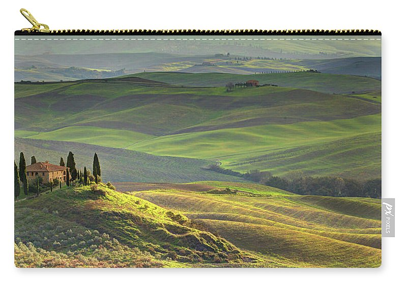 Scenics Carry-all Pouch featuring the photograph First Light In Tuscany by Maurice Ford