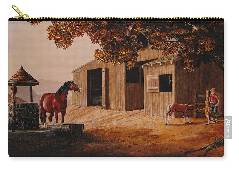 Farm Carry-all Pouch featuring the painting First Meeting by Duane R Probus