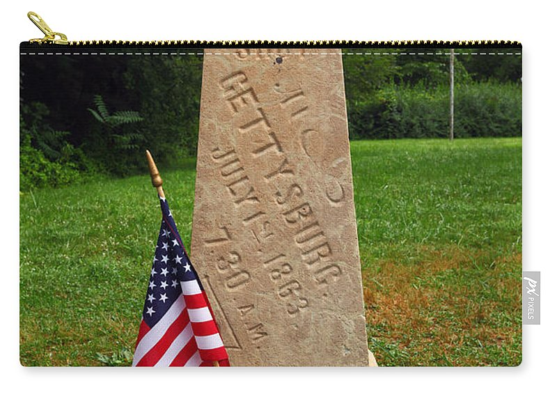 Gettysburg Carry-all Pouch featuring the photograph First Shot Monument Gettysburg by James Brunker