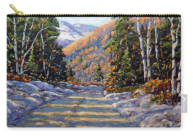 Quebec Carry-all Pouch featuring the painting First Snow By Prankearts by Richard T Pranke