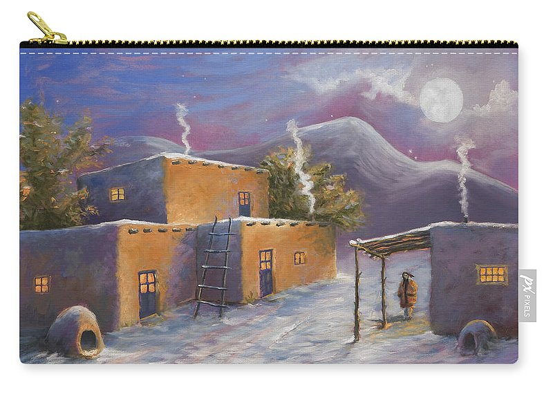 Snow Carry-all Pouch featuring the painting First Snow by Jerry McElroy