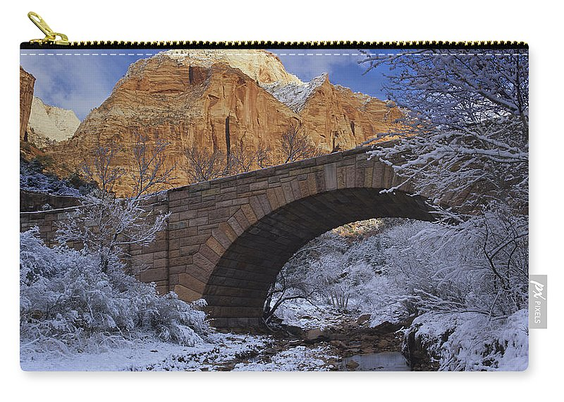 Snow Carry-all Pouch featuring the photograph First Snow Pine Creek by Susan Rovira