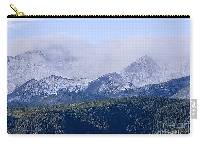 Pikes Peak Carry-all Pouch featuring the photograph First Snow by Steve Krull