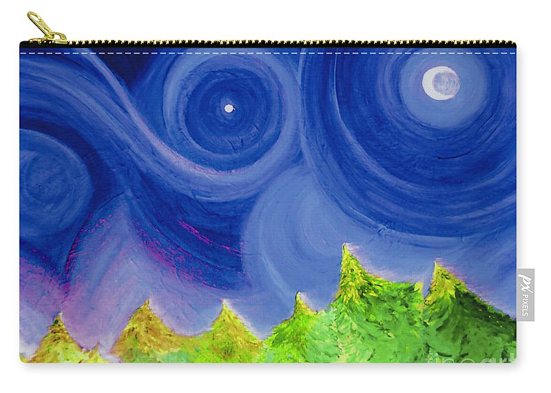 Trees Carry-all Pouch featuring the painting First Star By Jrr by First Star Art