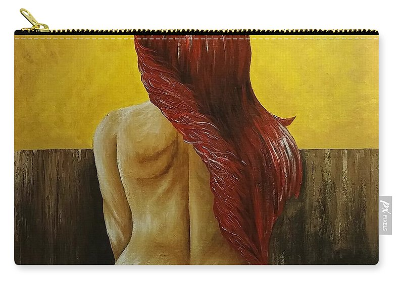 24x24 Painting Prints Women Bed Brownyellow Carry-all Pouch featuring the painting First Women In Bed by Barbara Stanley