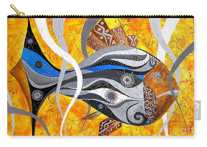 Fish Carry-all Pouch featuring the painting Fish 0465 - Marucii by Marek Lutek