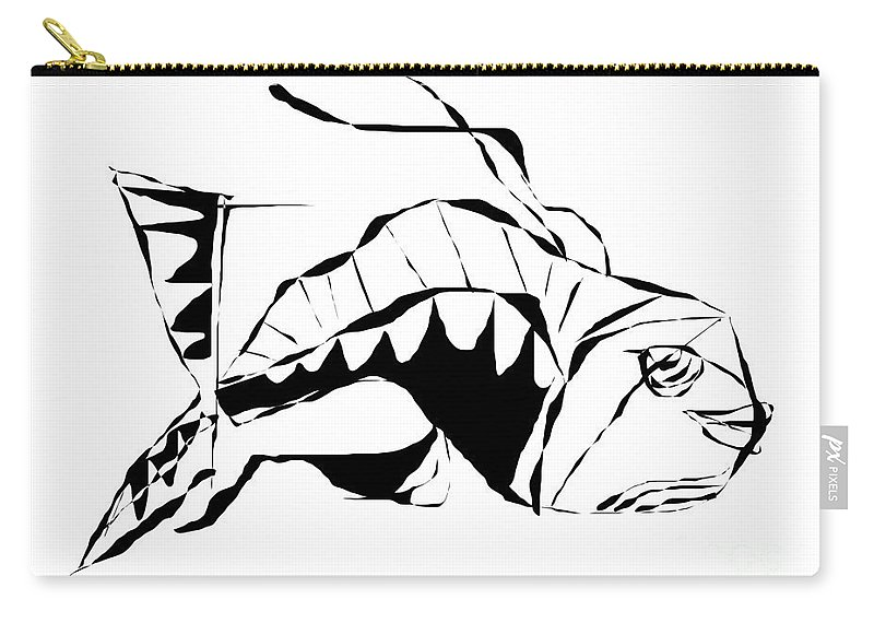 Graphics Carry-all Pouch featuring the digital art Fish B-w 098 - Marucii by Marek Lutek