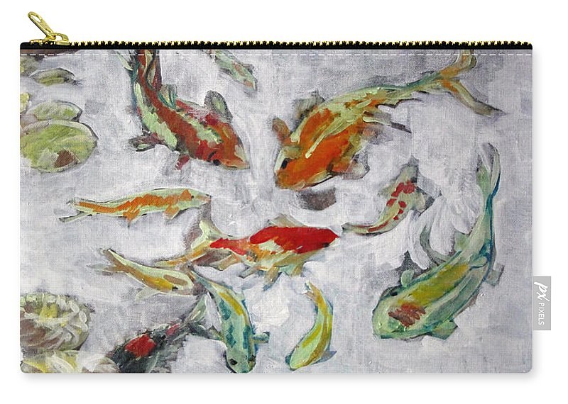 Goldfish Carry-all Pouch featuring the painting Fish Pond V2					 by Charles M Williams