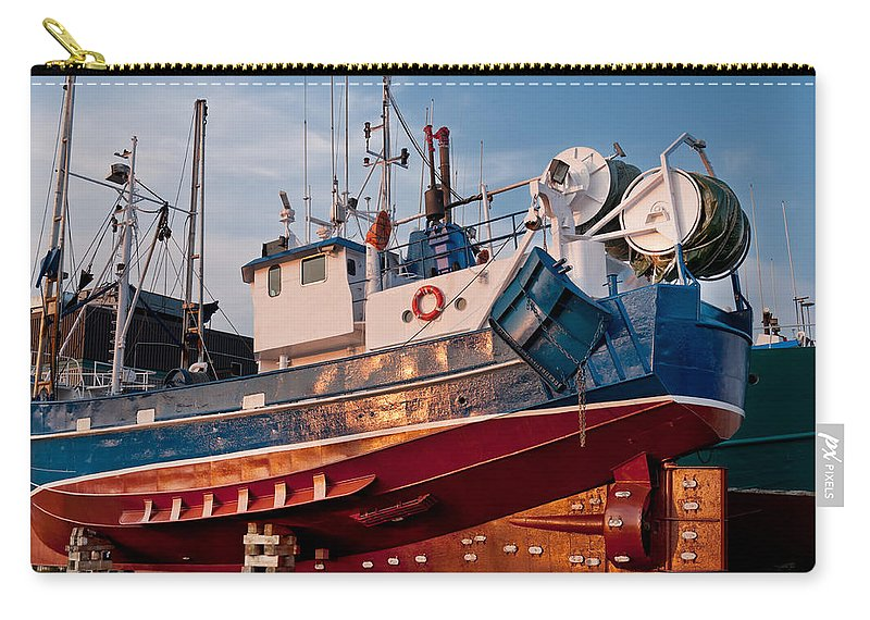 Anchor Carry-all Pouch featuring the photograph Fish Trawler On Land by U Schade