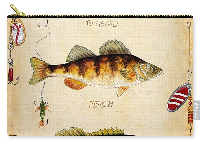 Acrylic Painting Carry-all Pouch featuring the painting Fish Trio-c by Jean Plout