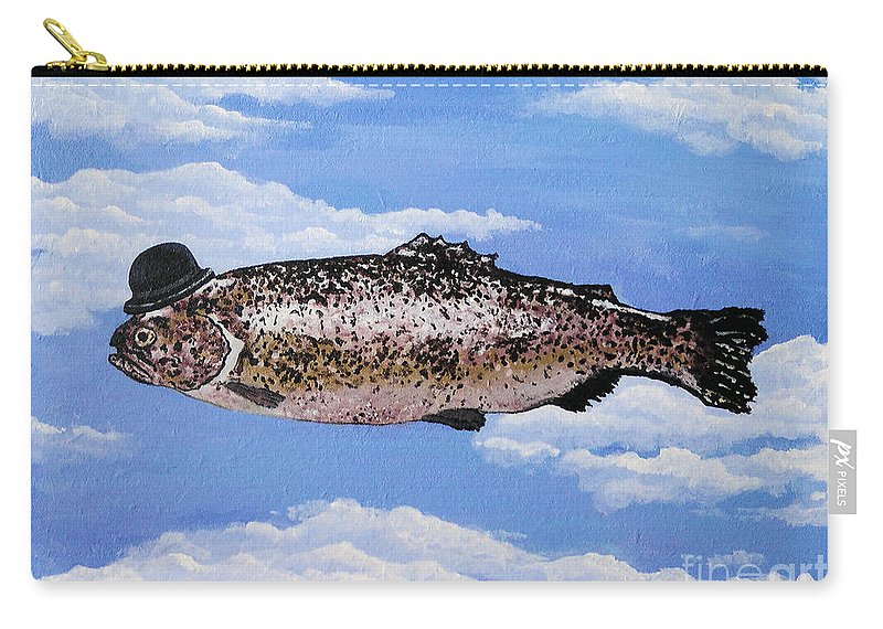 Fish Carry-all Pouch featuring the painting Fish With Bowler by Bela Manson