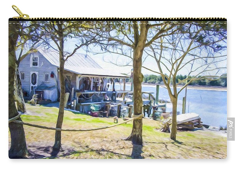 Swansboro Carry-all Pouch featuring the painting Fisherman's House 4 by Jeelan Clark